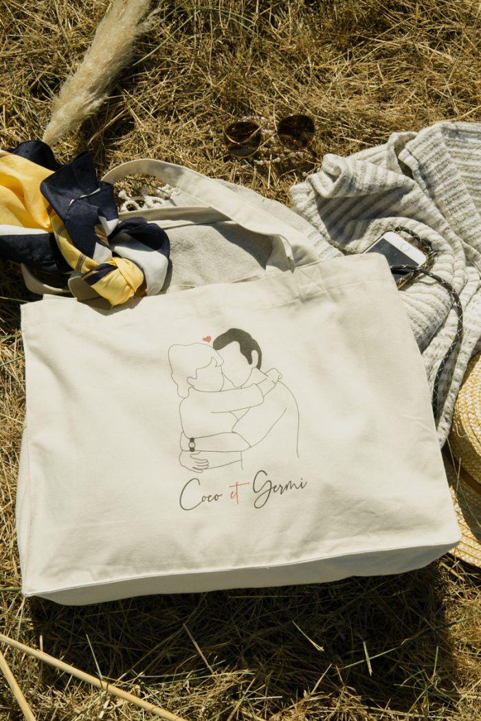 coton biologique bio imprimé france blanc minimaliste éthique mode équitable éco responsable tote bag shopping bag sac grand format sac de plage sac de courses