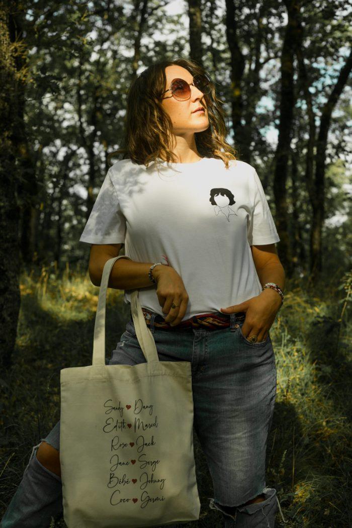 Tee-shirt coton biologique bio brodé france broderie t-shirt blanc minimaliste éthique mode équitable éco responsable sac tote bag coton recyclé
