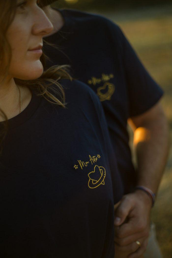 Tee-shirt coton biologique bio brodé france broderie t-shirt blanc minimaliste éthique mode équitable éco responsable