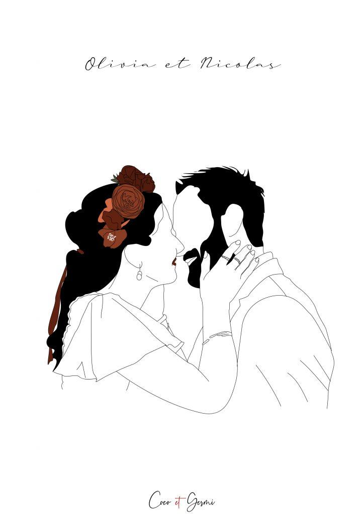 Illustration minimaliste pop épurée Mariage en Terre Inconnue