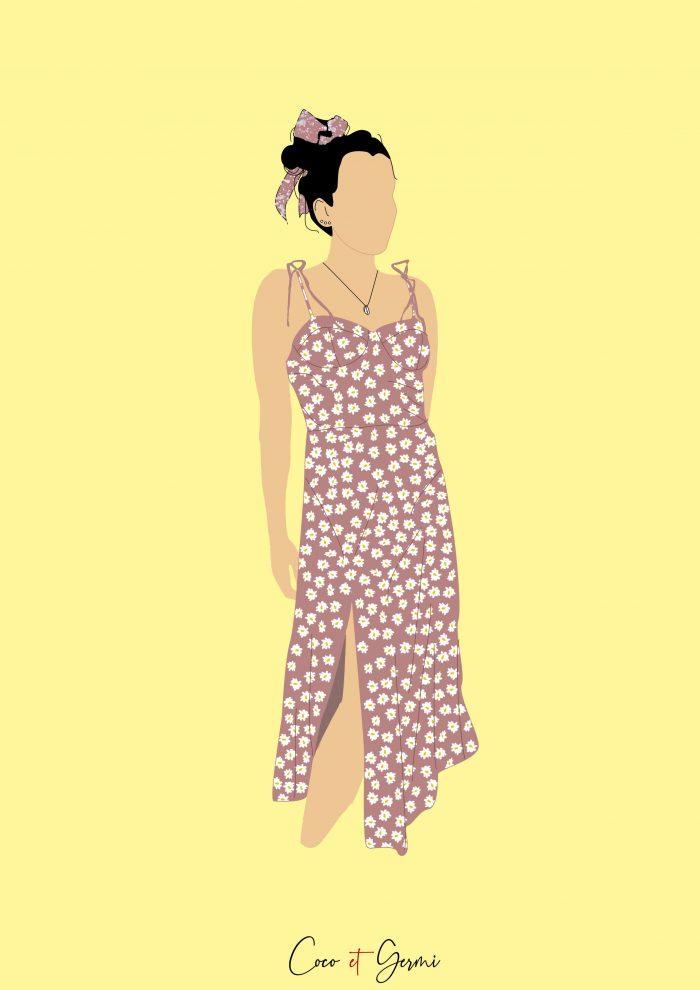 illustration colorée pop sure mesure personnalisé dessin minimaliste