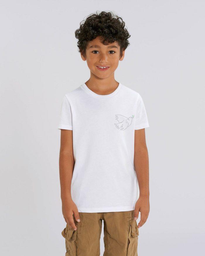 Tee-shirt coton biologique bio brodé france broderie t-shirt blanc minimaliste éthique mode équitable éco responsable enfant personnalisé sur mesure stanley stella