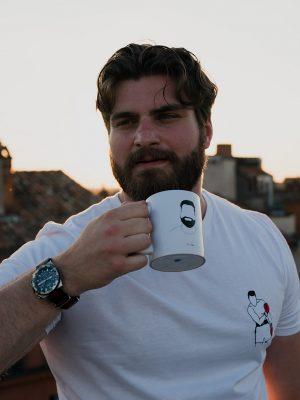 tasse personnalisé mug idée cadeau petit déjeuner bol original Tee shirt personnalisé blanc